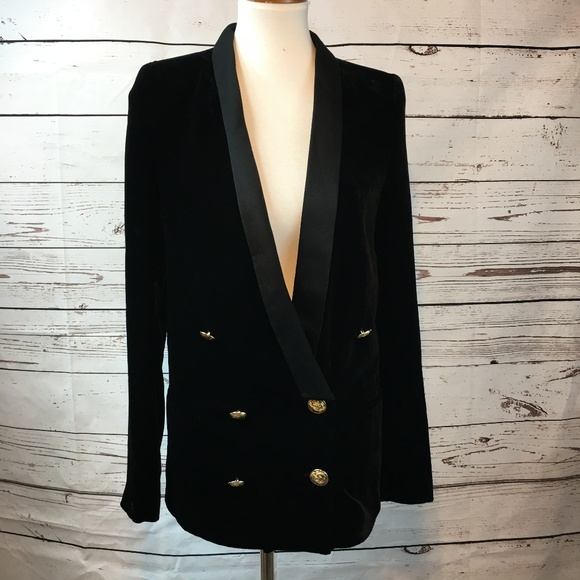 7507f6fc Zara Jackets & Coats | Woman Studio Black Blazer With Gold Buttons ...